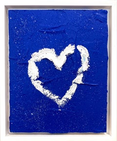"""My Cobalt Diamond Heart"" Contemporary Oil Painting Framed w Floater Frame"