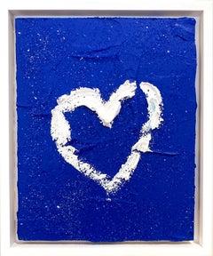 """My Cobalt Diamond Heart"" Contemporary Oil Painting Framed w Floater Frame"