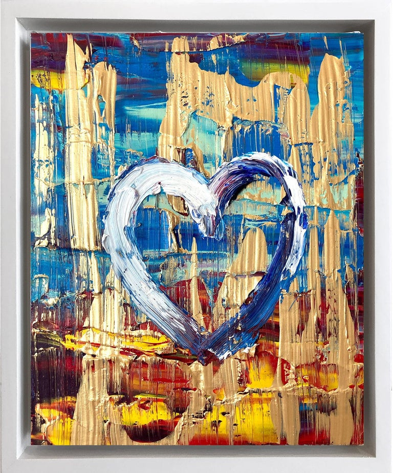 """Cindy Shaoul Figurative Painting - """"My Cosmopolitan Heart"""" Contemporary Oil Painting Framed w Floater Frame"""