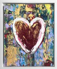 """""""My Crown Jewel Heart"""" Contemporary Oil Painting Framed w Floater Frame"""
