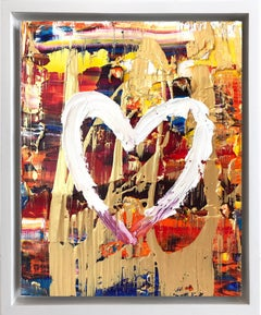 """""""My Dancing Heart"""" Multicolor & Gold Contemporary Oil Painting & Floater Frame"""