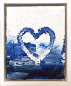 """My Diamond Heart"" Contemporary Oil Painting with Diamond Dust + Floater Frame"