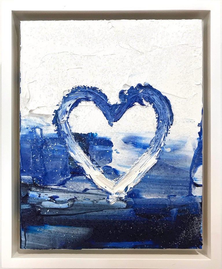 """Cindy Shaoul Figurative Painting - """"My Diamond Heart"""" Contemporary Oil Painting with Diamond Dust + Floater Frame"""