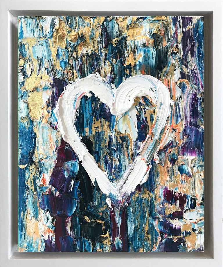 "Cindy Shaoul Abstract Painting - ""My Disco Heart"" Contemporary Oil Painting Framed with Floater Frame"