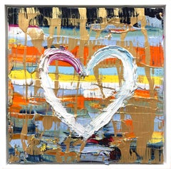 """""""My Electric Heart"""" Contemporary Oil Painting on Canvas with Floater Frame"""