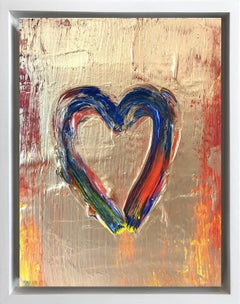 """""""My Fire Heart"""" Contemporary Oil Painting Framed w Floater Frame"""