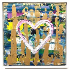"""""""My Forever Heart"""" Contemporary Oil Painting on Canvas with Floater Frame"""
