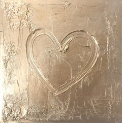"""""""My Gold Heart"""" Contemporary Gold Textured Oil Painting on Canvas"""