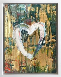 """My Golden Heart"" Contemporary Oil Painting Framed w Floater Frame"