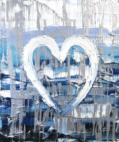 """""""My Heart in Geneva"""" Contemporary Multicolor Silver Oil Painting on Canvas"""