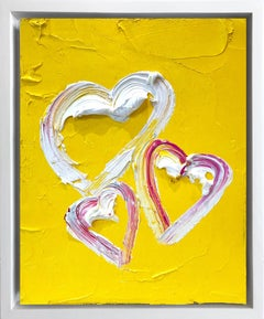 """My Heart in Three"" Contemporary Oil Painting Framed w Floater Frame"