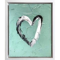 """My Heart on Army Green"" Contemporary Oil Painting Framed with Floater Frame"