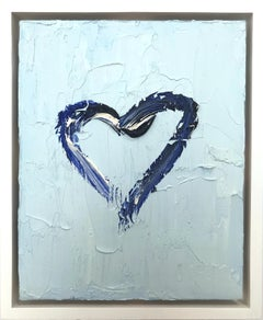 """""""My Heart on Baby Blue"""" Contemporary Oil Painting With Floater Frame"""