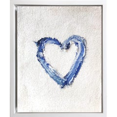 """""""My Heart on Blue and White"""" Contemporary Oil Painting Framed with Floater Frame"""