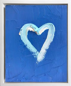 """""""My Heart on Blue Blue"""" Contemporary Oil Painting Framed with Floater Frame"""