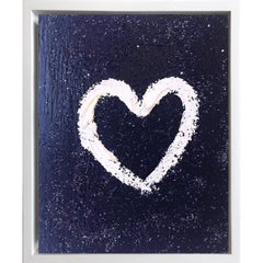 """My Heart on Blue Diamond"" Contemporary Oil Painting Framed with Floater Frame"