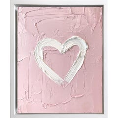 """""""My Heart on Blush Pink"""" Contemporary Oil Painting Framed with Floater Frame"""