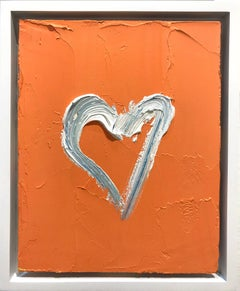 """""""My Heart on Bright Orange"""" Contemporary Oil Painting Framed w Floater Frame"""