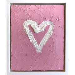 """""""My Heart on Bubble Gum Pink"""" Contemporary Oil Painting Framed w Floater Frame"""