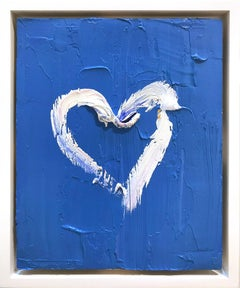 """My Heart on Cobalt Blue"" Contemporary Oil Painting Framed w Floater Frame"