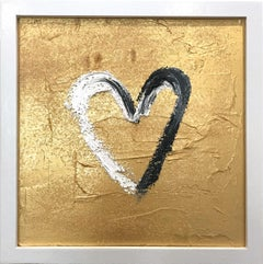 """My Heart on Gold Diamond"" Contemporary Oil Painting Framed w Floater Frame"