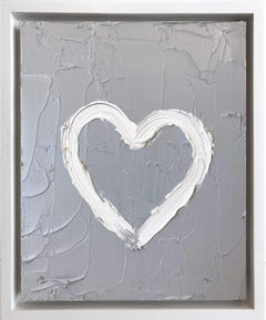 """My Heart on Light Gray"" Contemporary Oil Painting Framed w Floater Frame"