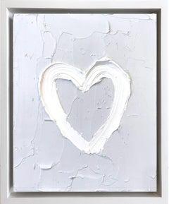 """My Heart on Light Gray"" Contemporary Oil Painting Framed w Floater Frame"