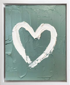 """My Heart on Light Green"" Contemporary Oil Painting Framed w Floater Frame"