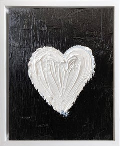 """My Heart on Noir"" Contemporary Oil Painting Framed with Floater Frame"