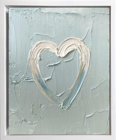 """My Heart on Periwinkle Blue"" Contemporary Oil Painting Framed Floater Frame"