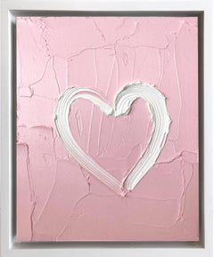 """My Heart on Pink Blossom"" Contemporary Oil Painting Framed w Floater Frame"