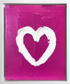 """My Heart on Pink"" Contemporary Oil Painting Framed w Floater Frame"