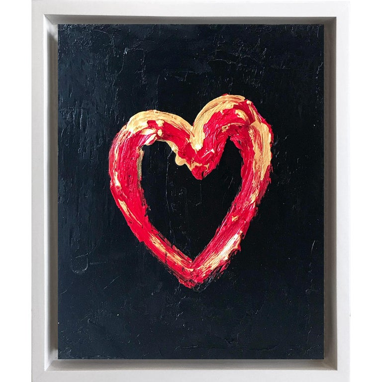 """Cindy Shaoul Abstract Painting - """"My Heart on Red and Gold"""" Contemporary Oil Painting Framed w Floater Frame"""