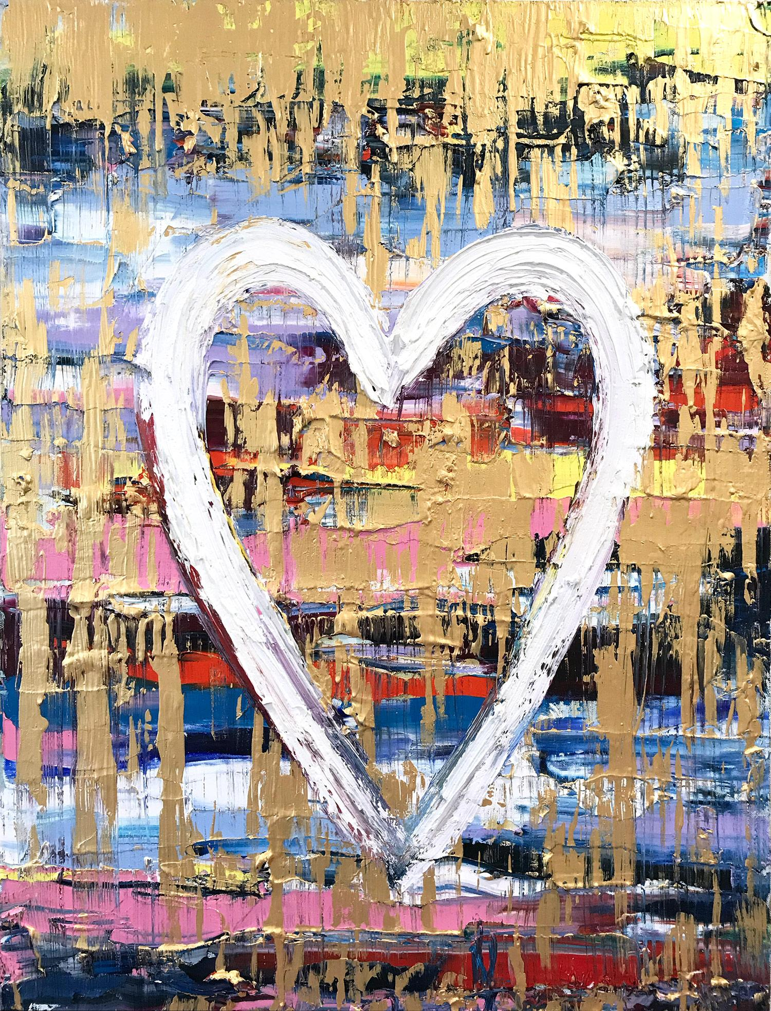 """""""My Heart on Sienna Sky """" Contemporary Multicolor Gold Oil Painting on Canvas"""