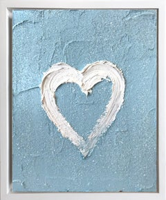 """My Heart on Sky Blue Diamond"" Contemporary Oil Painting Framed w Floater Frame"
