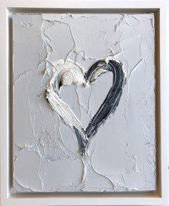 """""""My Heart on Steel Gray"""" Contemporary Oil Painting Framed with Floater Frame"""