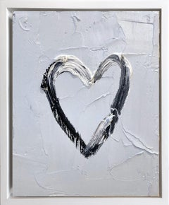 """My Heart on Steely Gray"" Contemporary Oil Painting Framed with Floater Frame"