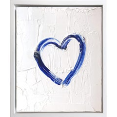 """My Heart on White and Cobalt"" Contemporary Oil Painting Framed w Floater Frame"