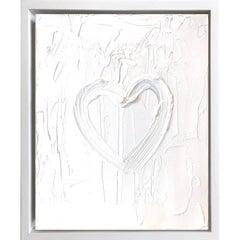 """My Heart on White White"" Contemporary Oil Painting Framed w Floater Frame"