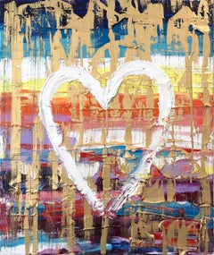 """""""My Heart Rocks"""" Contemporary Multicolor Gold Oil Painting on Canvas"""