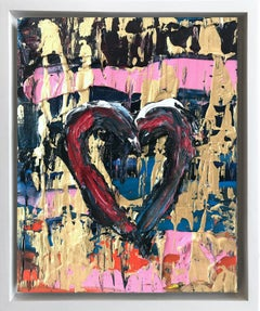 """""""My Heart Rocks"""" Contemporary Oil Painting Framed w Floater Frame"""