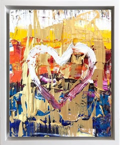 """""""My Ice Pop Heart"""" Multicolor & Gold Contemporary Oil Painting & Floater Frame"""