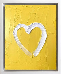 """My Joyful Heart"" Contemporary Yellow Oil Painting Framed w Floater Frame"