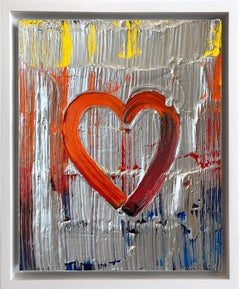 """My Knight and Shinning Heart"" Contemporary Oil Painting Framed w Floater Frame"