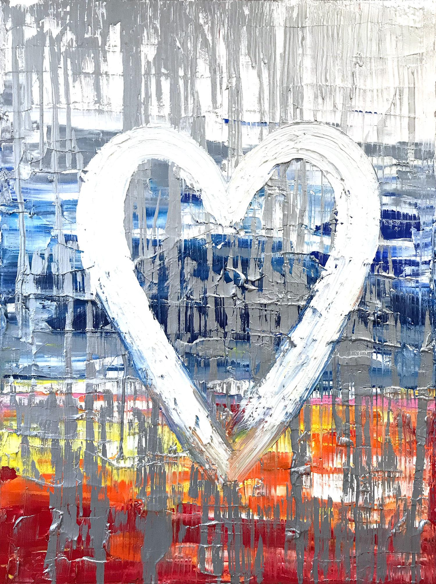 """""""My Malibu Nights Heart """" Contemporary Multicolor Gold Oil Painting on Canvas"""