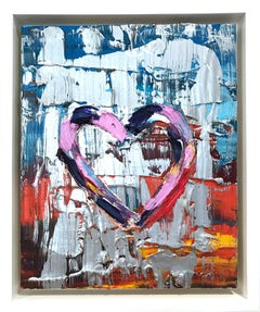 """""""My Malibu Sunset Heart"""" Contemporary Multicolored and Silver Oil Painting"""