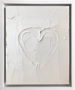 """""""My Marshmallow Heart"""" Contemporary Oil Painting Framed w Floater Frame"""