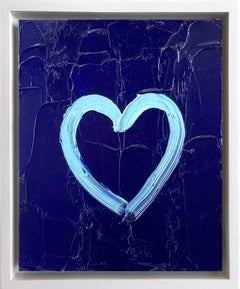 """My Midnight Blue Heart"" Contemporary Oil Painting Framed w Floater Frame"