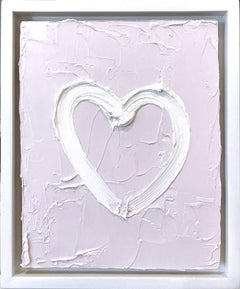 """My Peaceful Heart"" Light Lavender Contemporary Oil Painting w Floater Frame"