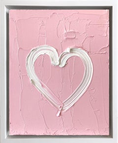 """My Pink Bloom Heart"" Contemporary Oil Painting Framed w Floater Frame"